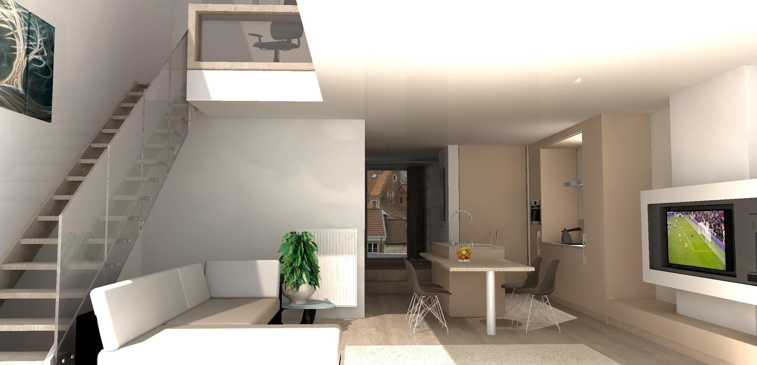 Aanzicht woonkamer & keuken