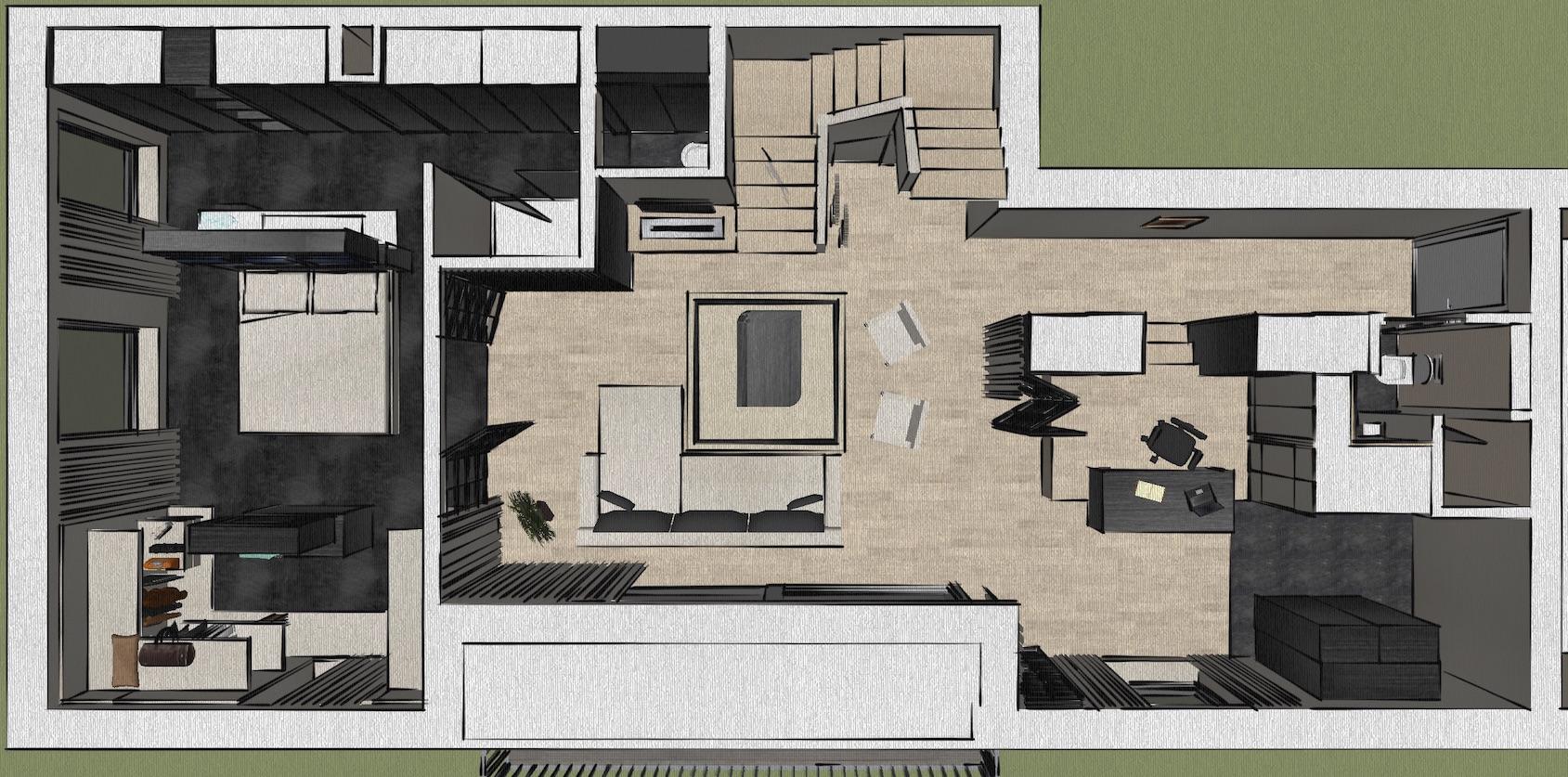 Academia duplex grondplan beneden