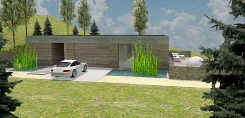 Rixensart - Ontwerp villa op heuvel 01 voorgevel