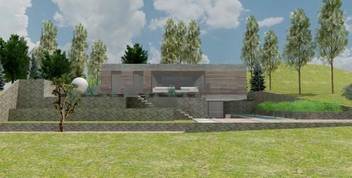 Rixensart - Ontwerp villa op heuvel 04 Achtergevel