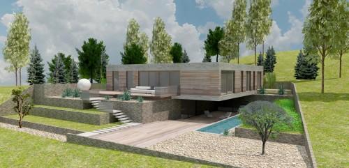 Rixensart - Ontwerp villa op heuvel 05 Achtergevel links